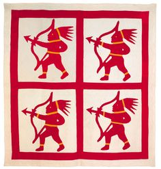 folk art applique quilt, late 19thc. Antique Quilts, Vintage Quilts, Southwest Quilts, Red And White Quilts, Native Design, Traditional Quilts, Sewing A Button, Punch Needle, Quilt Top