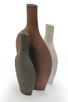 Patricia Vieljeux - Bouteilles plates H 40 - L 22 cm/H 30 - L 13 cm
