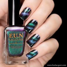 Believe is a multi-chrome magnetic polish that shift between the vibrant green, blue, violet and a soft pink! You may apply coats over bl. Powder Nails, Fun Lacquer, Magnetic Nail Polish, Cat Eye Nails, Best Nail Polish, Us Nails, Halo Nails, Nail Treatment, Nailed It
