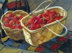 Oil painting reproduction: Aleksandr Deyneka still life strawberry 1955 Socialist Realism, Still Life Oil Painting, Oil Painting Reproductions, Russian Art, Art Challenge, Love Art, Be Still, Les Oeuvres, Oil On Canvas