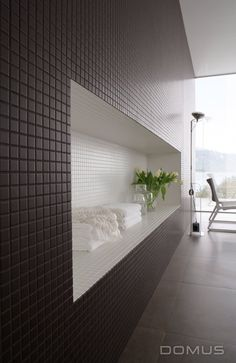 Great tiled wall inset area - nice use of dark and white contrasting tiles! - Domus Tiles