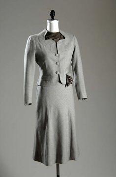 Ensemble, Mainbocher, 1937. Wool flannel and printed silk. #1930sfashion