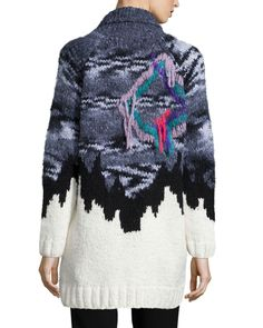 Elizabeth and James Intarsia Zip-Front Sweater, White/Black/Gray