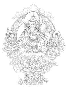 Padmasambhava with his two consorts Mandarava & Yeshe Togyel.