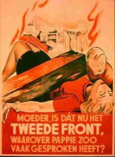 """""""Moeder, is dat nu het tweede front, waarover pappie zoo vaak gesproken heeft?"""" Duits propaganda-affiche na Amerikaans bombardement op Rotterdam-West. Vervaardiger: Anoniem. Datering: 1943."""