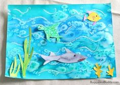 Soda and Vinegar Science Experiment: Exploding Baggies Ocean Art Project for Kids Using Oil Pastels, Watercolor, and Salt ~ Ocean Art Project for Kids Using Oil Pastels, Watercolor, and Salt ~ Summer Art Projects, Projects For Kids, Ocean Projects, Kindergarten Art, Preschool Art, Sea Crafts, Crafts For Kids, 3rd Grade Art, Ocean Art