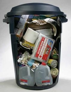 Are you prepared for a real disaster? Heres a plan. For your survival kit, use a portable container such as a large, covered trash receptacle. If you store your liquids at the bottom of your container, youll reduce the chance of damage from leaking plastic bottles. Put food, first aid kit  clothes on top. Easy to grab  go if needed.