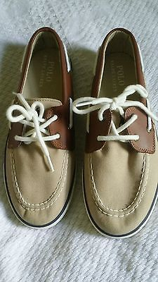 Big boys shoes size 5 Ralph Lauren Polo boatshoes brand new w/o box tan brown