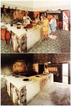 Roman/ Pompeian Cookshop +++ drawing by Andrea Tosolini