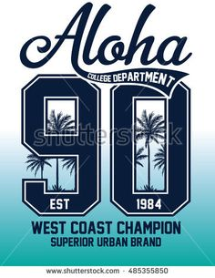 Aloha typography with palm trees illustration for t-shirt print , vector illustration.