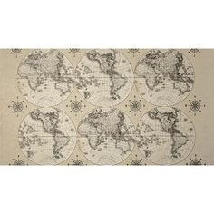 World Maps World Maps Multi from @fabricdotcom  Designed by Sue Schlaback and licensed by Wild Apple to Windham Fabrics, this cotton print fabric is perfect for quilting, apparel and home decor accents. Colors include black and cream.
