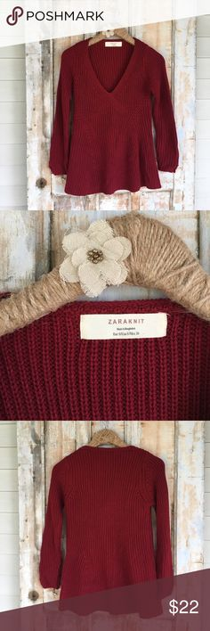 Zara Cable Knit Sweater How adorable is this sweater. It is a warm cozy material. The color is a dark red. The sleeves have little slots at the bottom to add detail. The size is small. Measurements are 26 1/2 Inch length, 30 inch bust.    .D. Zara Sweaters V-Necks