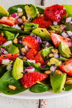 Ensalada de Espinaca con Fresa y Aguacate - Invent Tutorial and Ideas Hotdish Recipes, Appetizer Recipes, Mexican Food Recipes, Vegetarian Recipes, Cooking Recipes, Healthy Recipes, Dinner Recipes, Bariatric Recipes, Food Dinners