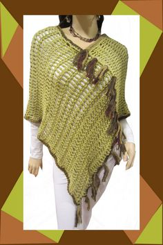 Funky Boho Poncho  Avocado Green With Brown/Green by ArtisticFunk, $35.00