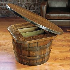 Wine barrel table with storage. Could possibly make seats that are similar to this as well.