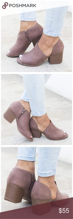 "New nutmeg peep-toe Bootie Featuring a trendy designer cut, cushioned insole, side zipper, distressed faux nubuck leather, and approx. a 2.5"" chunky heel. This style has been running true to size.  Please allow 3-7 business days for shipment as this is a preorder item Shoes Ankle Boots & Booties"