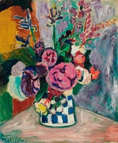 "Work: Henri Matisse – ""Les Pivoines"", 1907, Estimate: $ 8-12 million Importance: From Matisse's Fauvist period, the work is a still-life with vivid colors depicting a pot of flowers. It was painted two years after Matisse and André Derain began working with bright and bold forms and colors. In 2011, a Fauvist work by Matisse's contemporary, Maurice de Vlamnick, sold for $ 22.5 million at Christie's New York."
