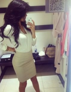 Ivory Pencil Skirt and White Blouse