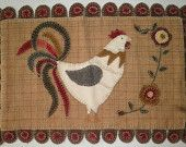 Rooster penny rug
