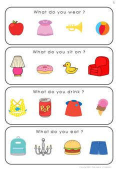 What Questions for Special Education Plus Powerpoint Game Educational Activities For Preschoolers, Preschool Learning Activities, Speech Therapy Activities, Preschool Lessons, Language Activities, Therapy Worksheets, Teaching Kindergarten, Teaching Ideas, English Grammar For Kids
