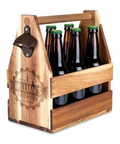 I've seen these before as kids tool kits need to make for Christmas  at this #zulilyfind! 'Brewery' Personalized Wood Beer Caddy #zulilyfinds
