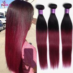 Ms cat ombre malaysia rambut lurus 3 pcs rambut ekstensi ombre t1b/burgundy 99j tissage brésilienne ombre menenun rambut manusia