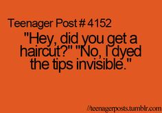 Next  time someone asks. that would be awesome. I dyed my hair tips invisible- that's great!