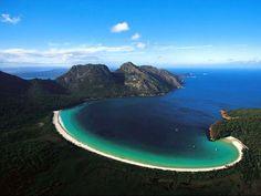 Aerial view of Wineglass Bay, Tasmania