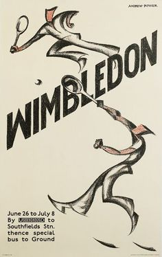 Sybil Andrews's Wimbledon, 1933, designed under the pseudonym, Andrew Power