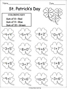 Patrick's Day math worksheet. Solve the addition problems, then color using the color key. This printable worksheet provider excellent practice for kindergarten. Math Addition Worksheets, Free Math Worksheets, School Worksheets, Kindergarten Worksheets, Math Coloring Worksheets, First Grade Math Worksheets, Homeschool Kindergarten, Printable Worksheets, Preschool