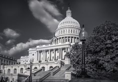 The United States Capital building in Black & White.