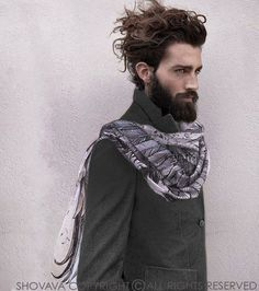 White Cotton scarf, Hand painted printed Wings and feathers, stunning unique and useful, perfect gift Hair And Beard Styles, Curly Hair Styles, Feather Scarf, Look Boho, White Scarves, Cotton Scarf, Gentleman Style, Looks Cool, Scarf Styles