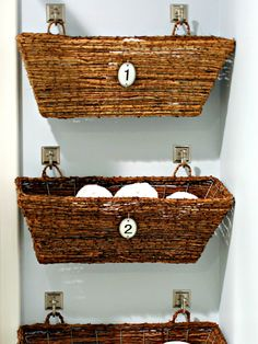 Tidy Up! Bathroom Organizing Ideas You Can Use Right Now - iVillage - Hang wicker window boxes on the wall over the toilet for a toilet paper storage solution that's chic and homey, and takes up zero footprint