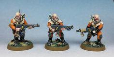 Deathwatch Genestealer cultists by Darren Latham. Warhammer Paint, Warhammer 40k Art, Warhammer 40k Miniatures, Warhammer 40k Tyranids, Sci Fi Miniatures, Deathwatch, Fantasy Battle, Painting, Inspiration
