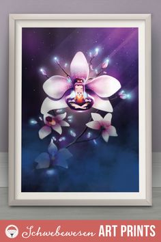 Orchid Art Print Chakra Poster Spiritual Wall Art Yoga Studio Decor Zen Artwork Strong Woman Meditation Art Flower Home Decor Hibiscus Print