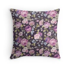 shabby chic,purple,lavender,green,pink,pattern,vintage,floral,flowers,roses,black,elegant,chic,modern,trendy