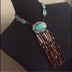 HOST PICKNative American Style Necklace/Earrings Native American style faux suede fringe and faux matrix lined turquoise embellishments. Earrings are for pierced ears and are included in price. Fashion/costume jewelry. No trades, no holding, no offsite payment.       PRICE IS FIRM UNLESS BUNDLED       No offers entertained for any reason                    Bundle and save  Jewelry