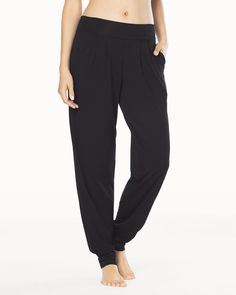 Soma Naked Tencel Banded Bottom Pleated Pants Black