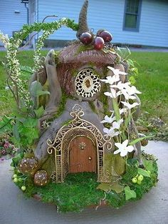 Petite OOAK Driftwood FAIRY gnome elf dollhouse HOUSE by J. McLaughlin: