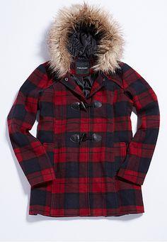 """<ul><b>Overview</b><li>soft exterior fabric</li><li>red and black plaid</li><li>smooth fabric interior</li><li>snap button and toggle closure</li><li>two functional pockets</li><li>attached hood with faux fur trim</li><li><a href=""""http://www.maurices.com/product/index.jsp?productId=63022236"""" >View Similar style in plus sizes</a></li></ul><ul><b>Fabric and Care</b><li>Style Number: 53367</li><li>Imported</li><li>100% polyester; faux fur 100% acrylic</li></ul>"""
