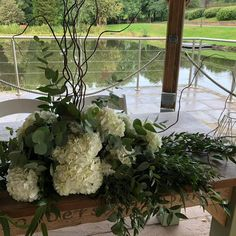 Another seriously stunning ceremony set up at The Venue with . A rustic woodland theme with stunning white hydrangeas and mixed eucalyptus. White Hydrangeas, Woodland Theme, Wedding Season, Wedding Flowers, Floral Design, Tables, Rustic, Plants, Top