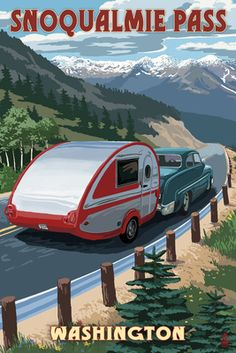 Snoqualmie Pass, Washington - Retro Camper - Lantern Press Artwork