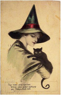 """""""May elves and sprites bring you good fortune on Halloween"""" ~ Early 1900s postcard."""