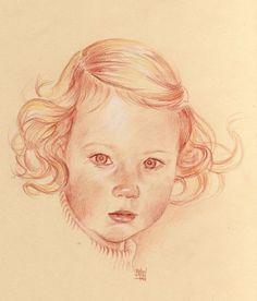 Les portrait à la sanguine de Brigitte Mercadier.