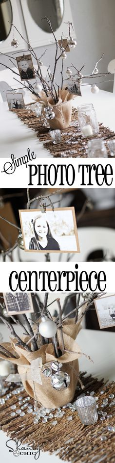 DIY Photo Tree Centerpiece for any occasion - Great for Graduation Party! Tree Centerpieces, Wedding Centerpieces, Table Decorations, Picture Centerpieces, Centrepieces, Anniversary Centerpieces, Reunion Decorations, Centerpiece Ideas, Diy Photo