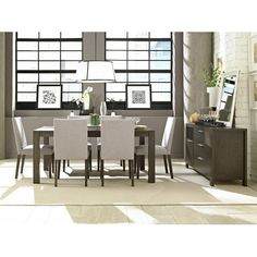 Belfort Select Modera Table and Chair Set with 6 Chairs