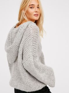 Wimbledon Knitted Sweater | Chill in this chunky hooded knit sweater with a cozy fabrication and relaxed, oversized shape. Features cute front pocket details.