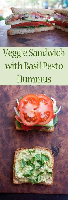 Veggie Sandwich with Basil Pesto Hummus (vegan, gluten free) - This savory sandwich is an easy healthy meal. It takes minutes to make, so it is perfect for weeknight meal!