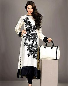 Off White Vilvadi, Resham Embroidered Pakistani Dresses 2013, Shalwar Kameez for Ramadan/EID 2013.  324.00
