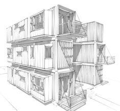 Modern House Plans by Gregory La Vardera Architect: IBU proposal progress sketch